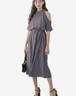 Neck Chiffon Dress